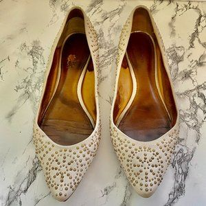 Coach Rory Leather Gold Studded Flats